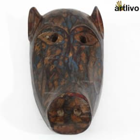 VINTAGE Tribal Animal Mask - Pig