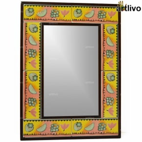 "22"" Decorative Bathroom Wall Hanging Tile Mirror Frame - MR076"