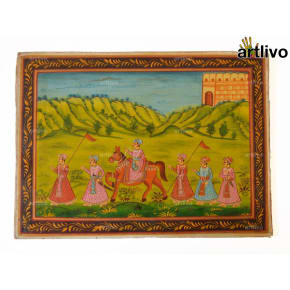 Mughal Travel Painting on Canvas - Unframed