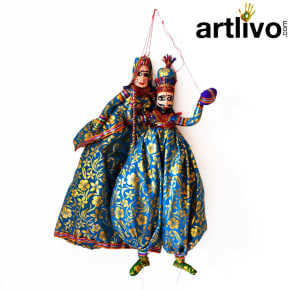 "POPART Light Blue Brocade Kathputli Puppet 20"" - PU023"