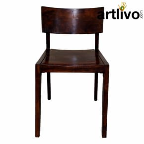 Wooden chair with glocy look brown