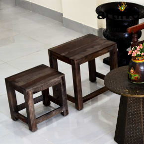 Wooden stool gray - set of 3