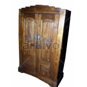 Vintage Indian Sculpted Splendid Solid Wooden Teak Almirah