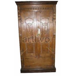 Vintage Indian Beautiful Extravagant Solid Wooden Teak Almirah