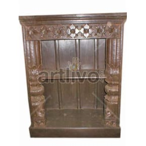 Antique Indian Sculpted Plush Solid Wooden Teak Bookshelf