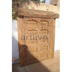 Vintage Indian Carved Imperial Solid Wooden Teak Door