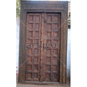 Vintage Indian Carved Magnificent Solid Wooden Teak Door
