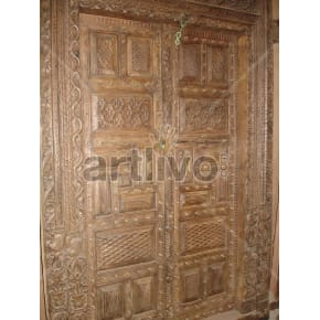 Vintage Indian Engraved Rich Solid Wooden Teak Door