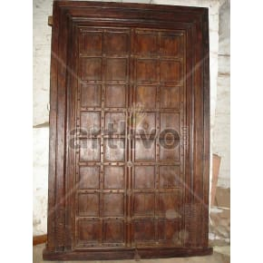 Vintage Indian Engraved Illustrious Solid Wooden Teak Door