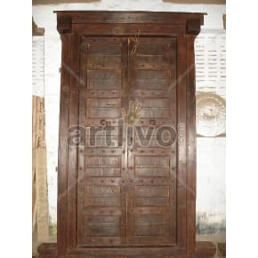 Vintage Indian Engraved Stately Solid Wooden Teak Door