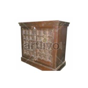 Antique Indian Chiselled illustrious Solid Wooden Teak Sideboard