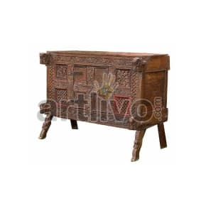 Vintage Indian Beautiful Marvellous Solid Wood brown color with chiseled wood art Trunk