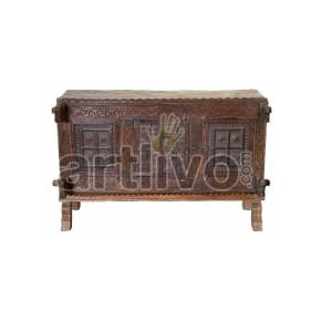 Antique Indian Carved noble Solid Wood brown color with chiseled wood art Trunk
