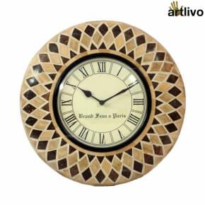 Bamboo Inlay Wall Clock Light