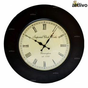 UBER ELEGANT Black Round Wall Clock