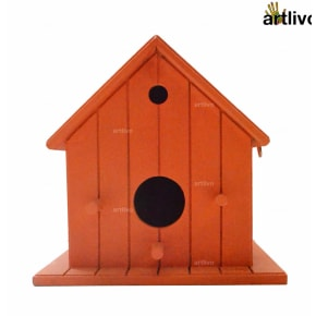 Decorative Hanging Bird House - Orange