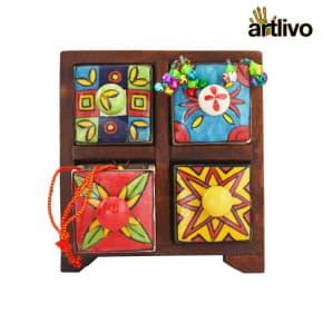 POPART Ceramic 4 Drawer Square Box - Bo126