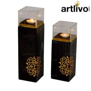 Candle Holder Black Set Of 2