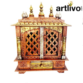 Artlivo Brown Wooden Temple with Door