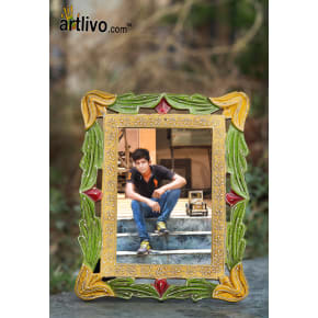 EMBOSSED Carved Photo Frame - Green - 5*7""