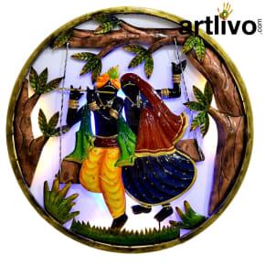 Radhe Krishna Round Wall Panel
