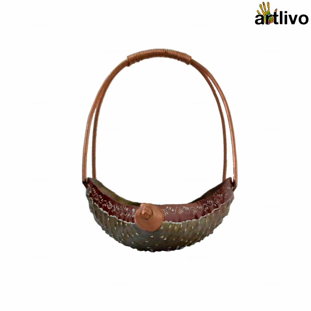 POPART Metallic Boat Shaped Pooja/ Fruits Basket with handle