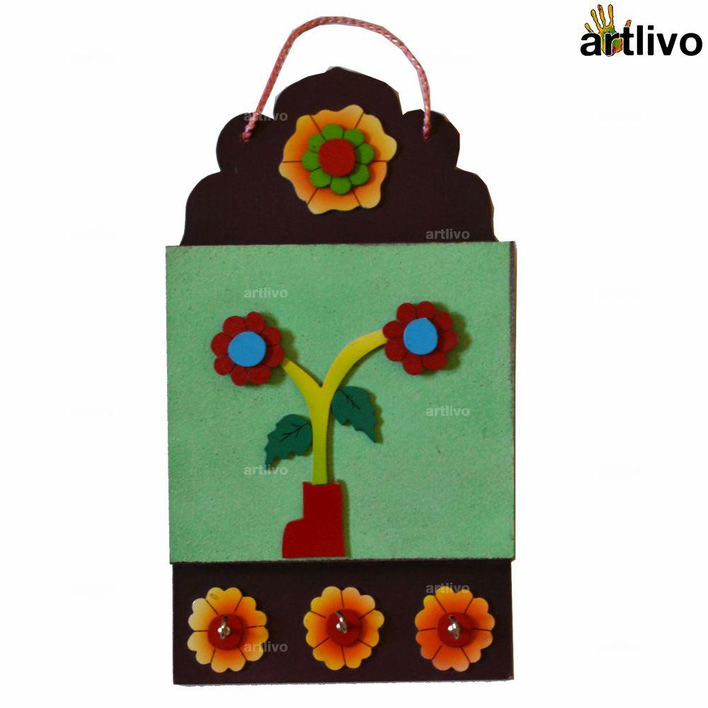 Floral Key Hooks with Pocket