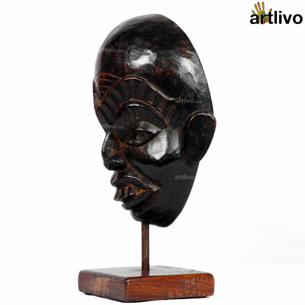 VINTAGE Wooden Tribal Mask on Stand - MA001