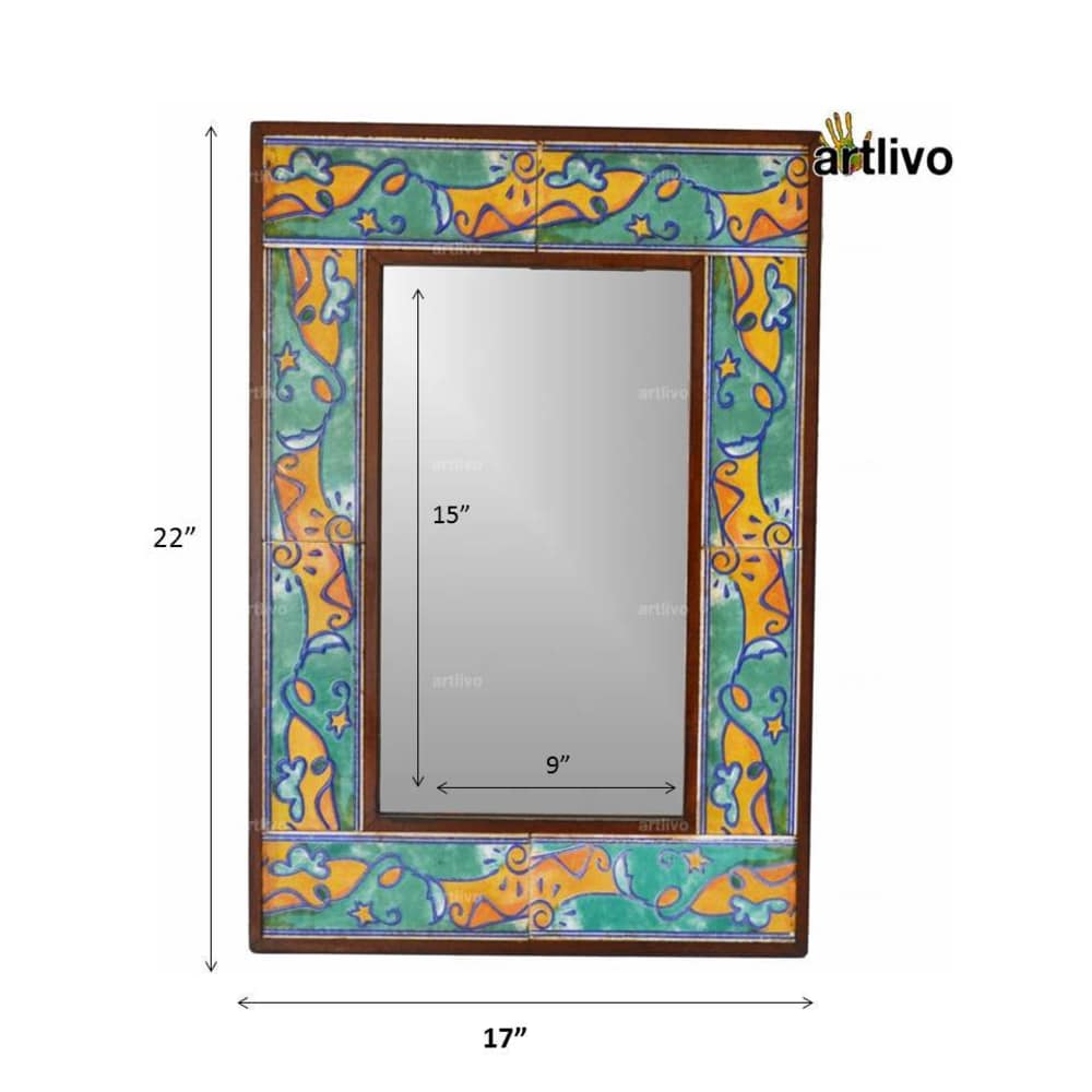 """22"""" Handcrafted Decorative Bathroom Wall Hanging Tile Mirror Frame"""