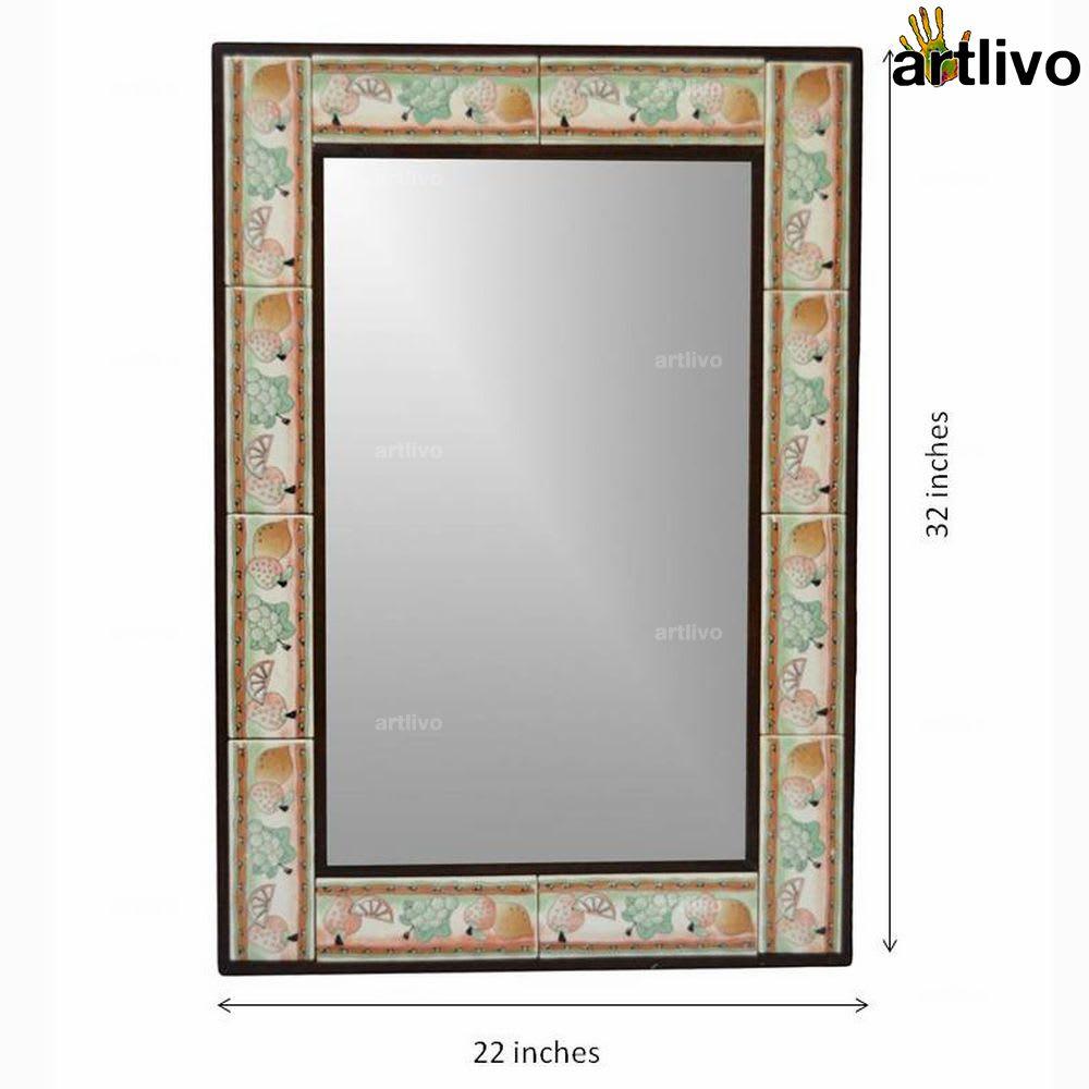 "32"" Decorative Wall Hanging Tile Mirror Frame - MR056"