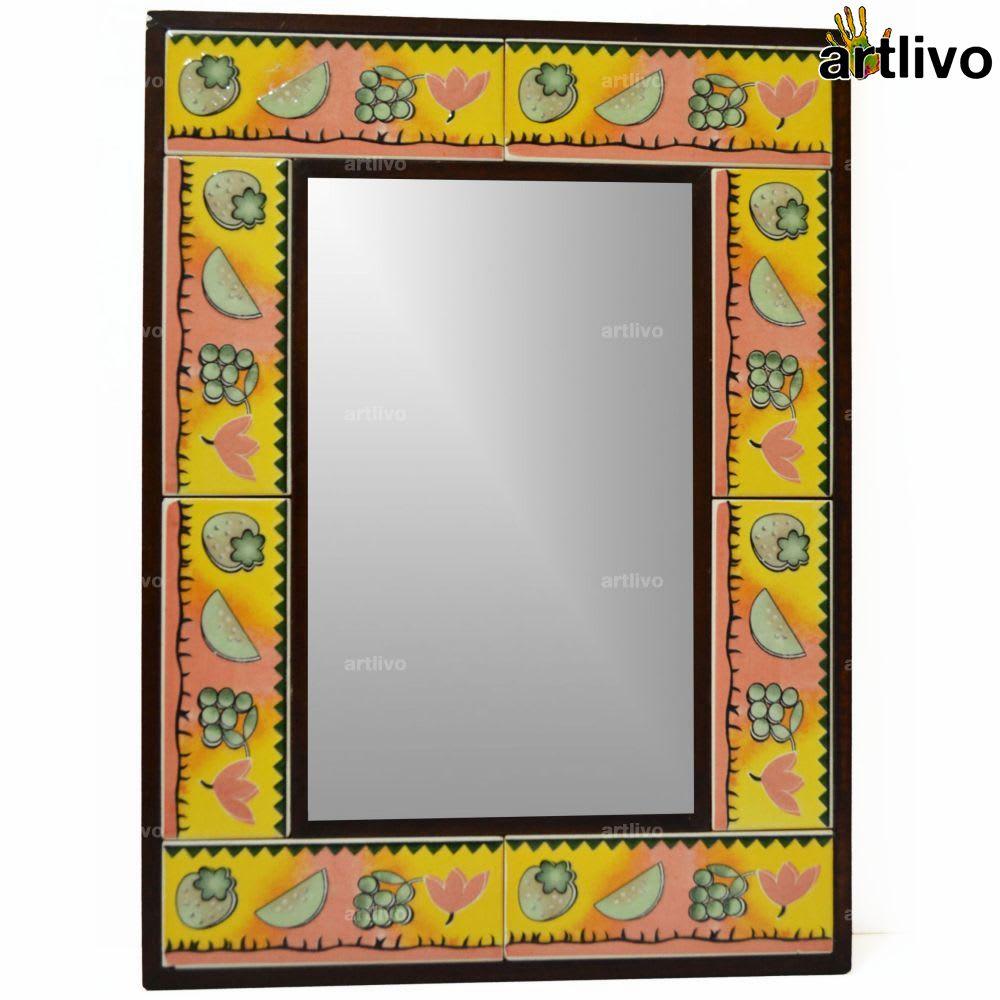 "22"" Decorative Bathroom Wall Hanging Tile Mirror Frame - MR076"