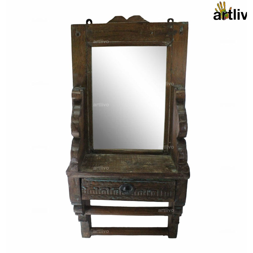 """25"""" VINTAGE Wooden Carved Wall Mirror with drawer"""
