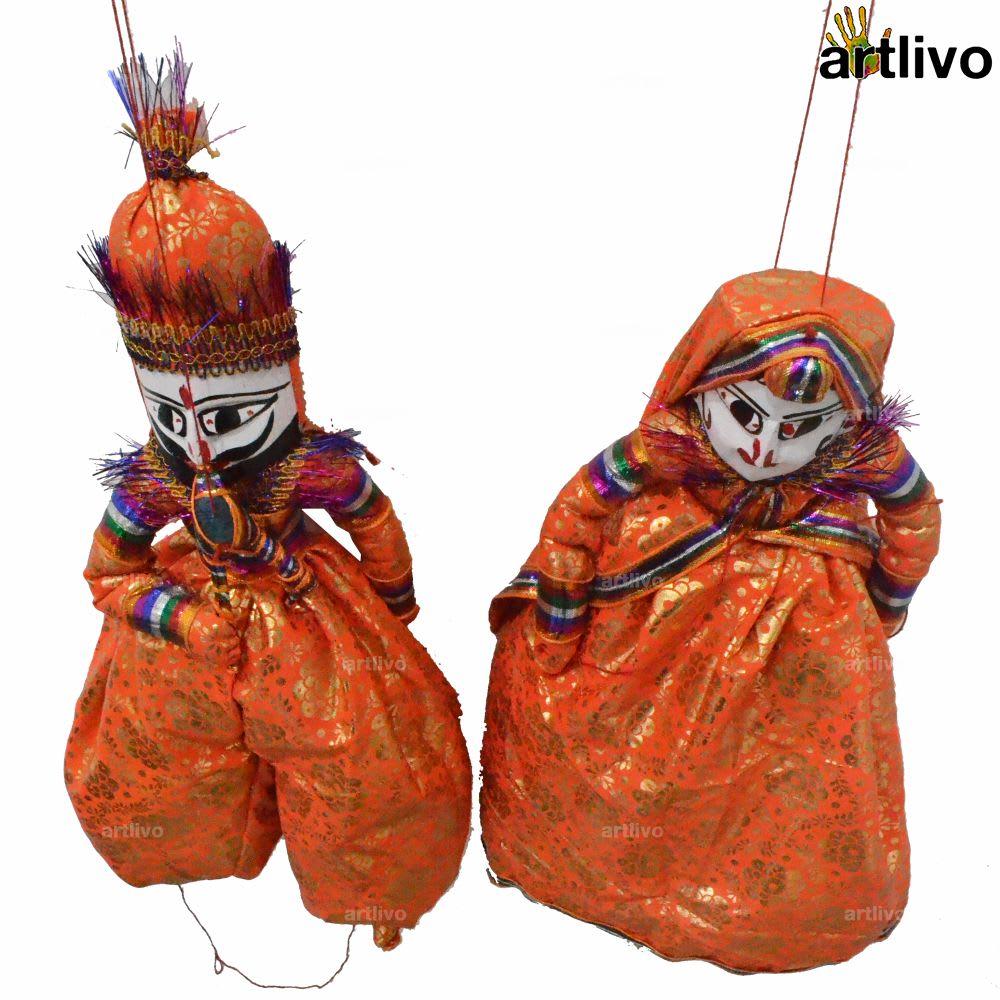 "POPART Orange Brocade Kathputli Puppet Set 20"""