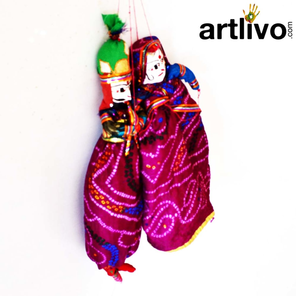 "POPART Dark Pink Chundari Kathputli Puppet 20"" - PU025"