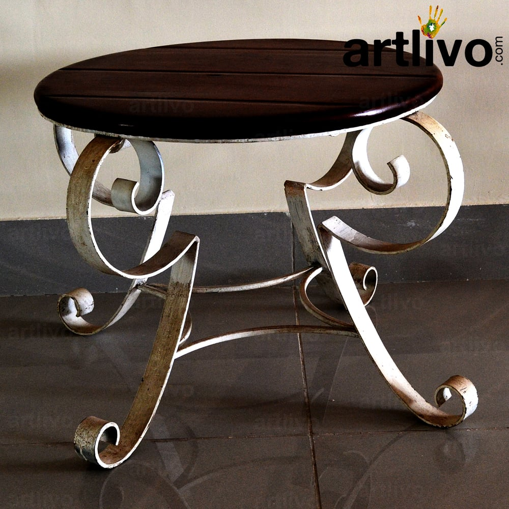 Wooden Table with Iron Leg