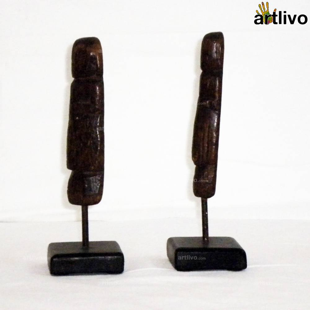 VINTAGE Wooden Dolls on a Stand - ST024