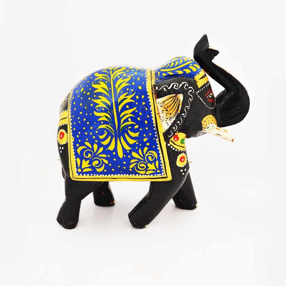 POPART Multicolor Wooden Elephant Statue Table Decor - ST093