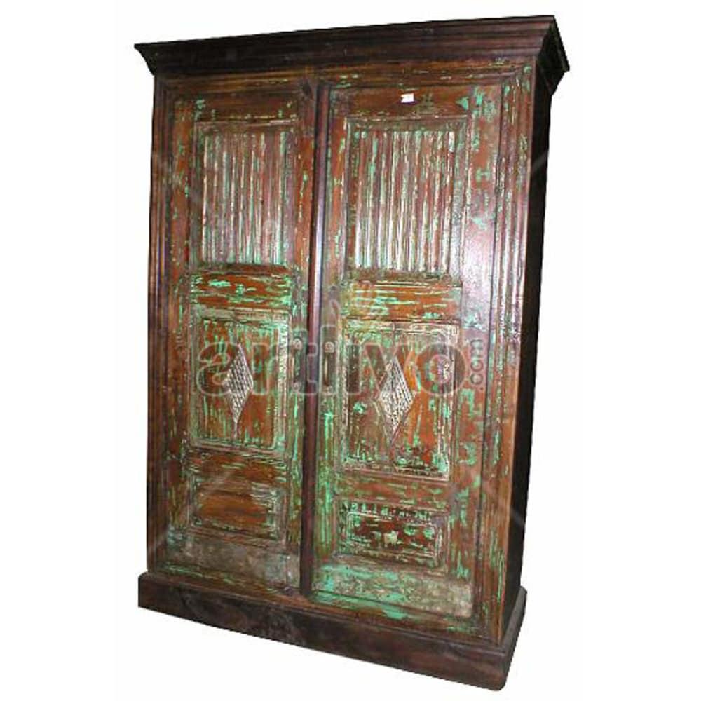 Vintage Indian Beautiful Ostentatious Solid Wooden Teak Almirah
