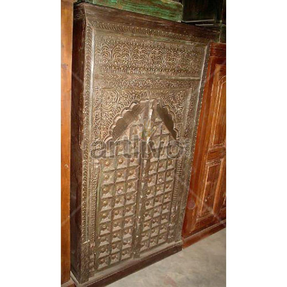 Vintage Indian Brown Palatial Solid Wooden Teak Almirah