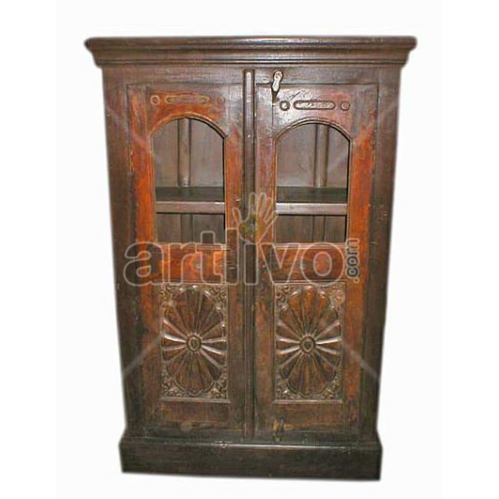 Vintage Indian Brown imperial Solid Wooden Teak Almirah