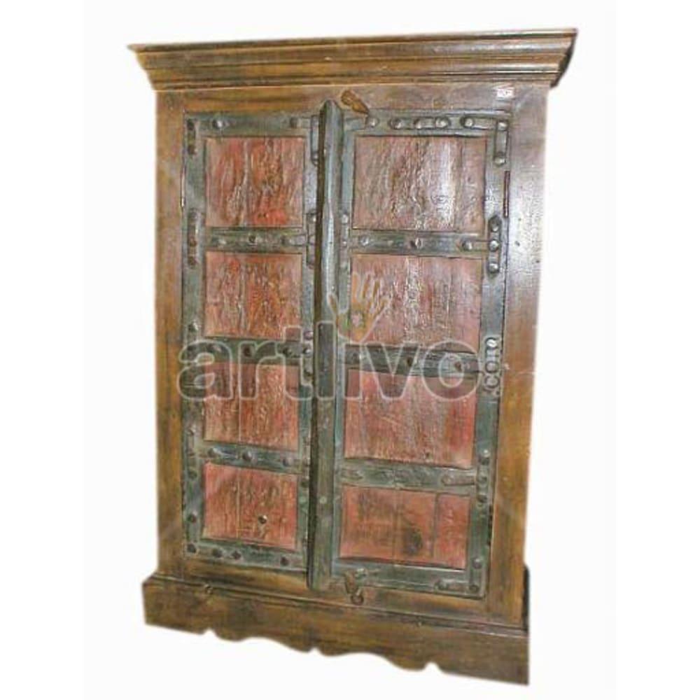 Vintage Indian Brown Superb Solid Wooden Teak Almirah