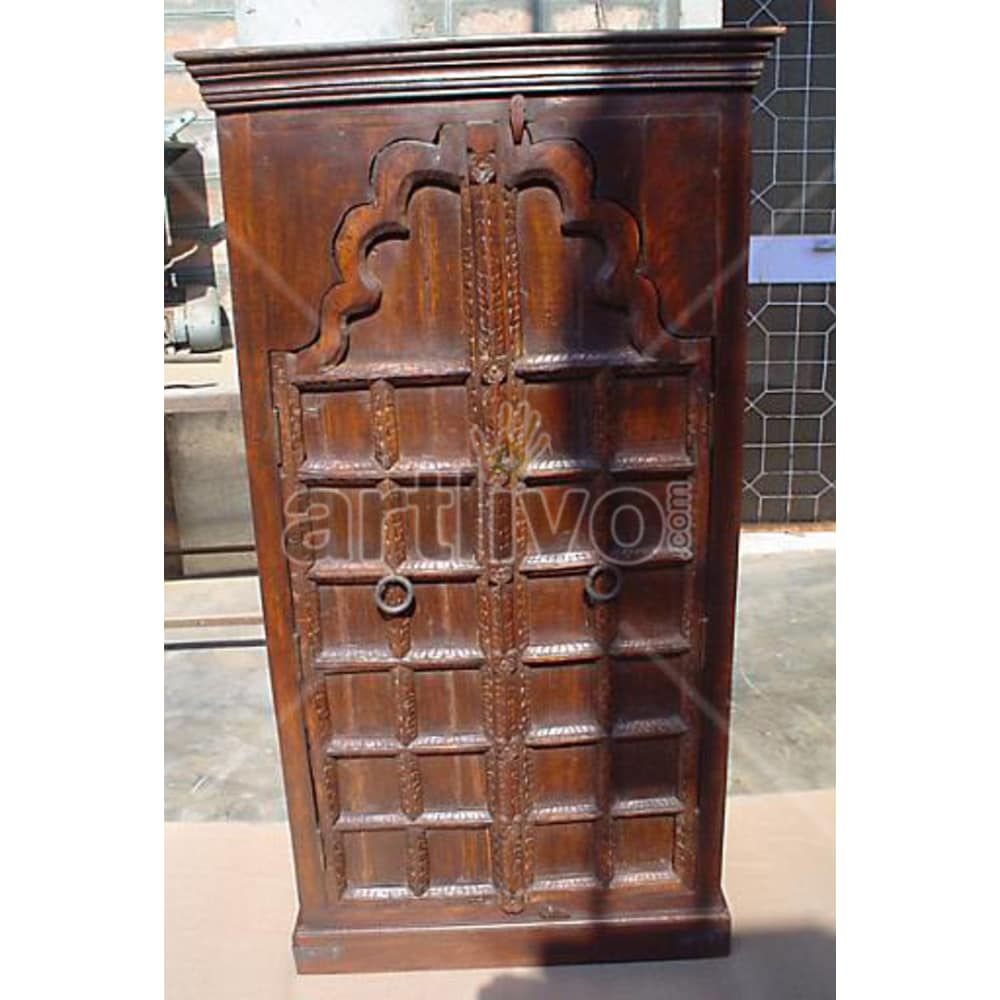 Antique Indian Carved Opulent Solid Wooden Teak Almirah