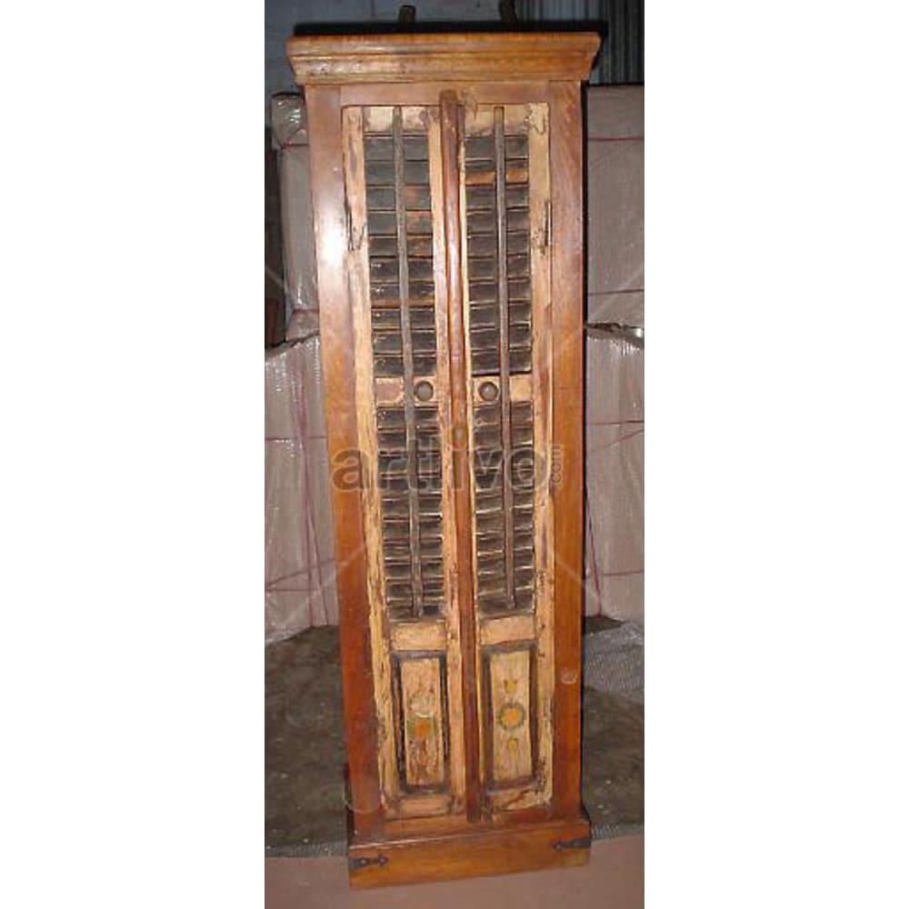 Antique Indian Chiselled Plush Solid Wooden Teak Almirah