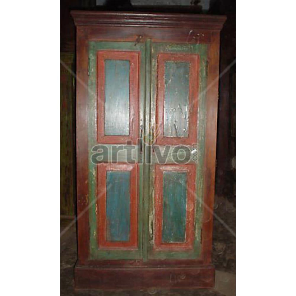 Antique Indian Engraved Opulent Solid Wooden Teak Almirah