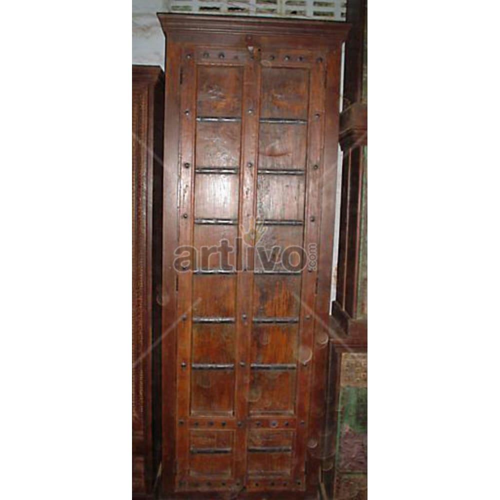 Antique Indian Engraved Palatial Solid Wooden Teak Almirah