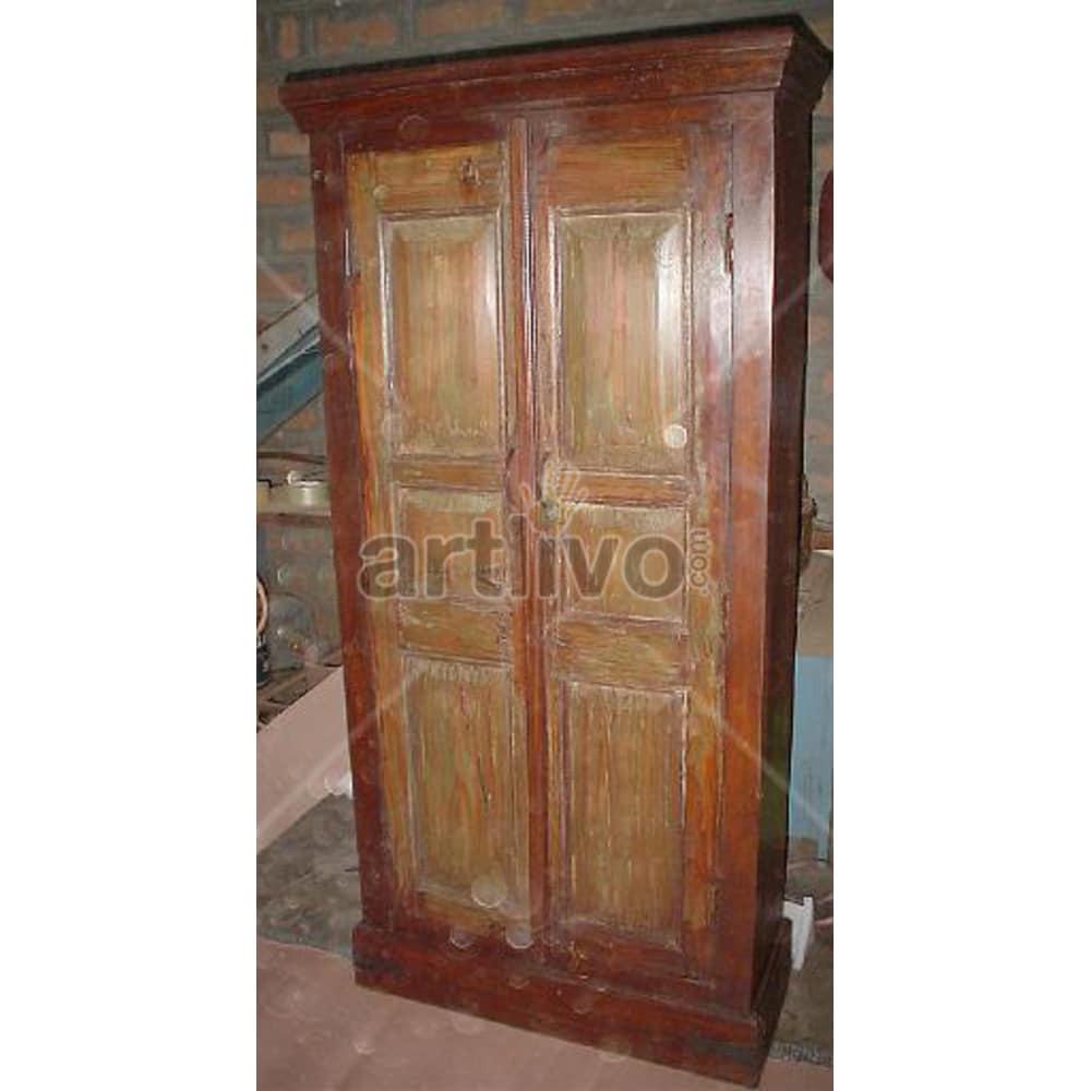 Antique Indian Engraved Royal Solid Wooden Teak Almirah