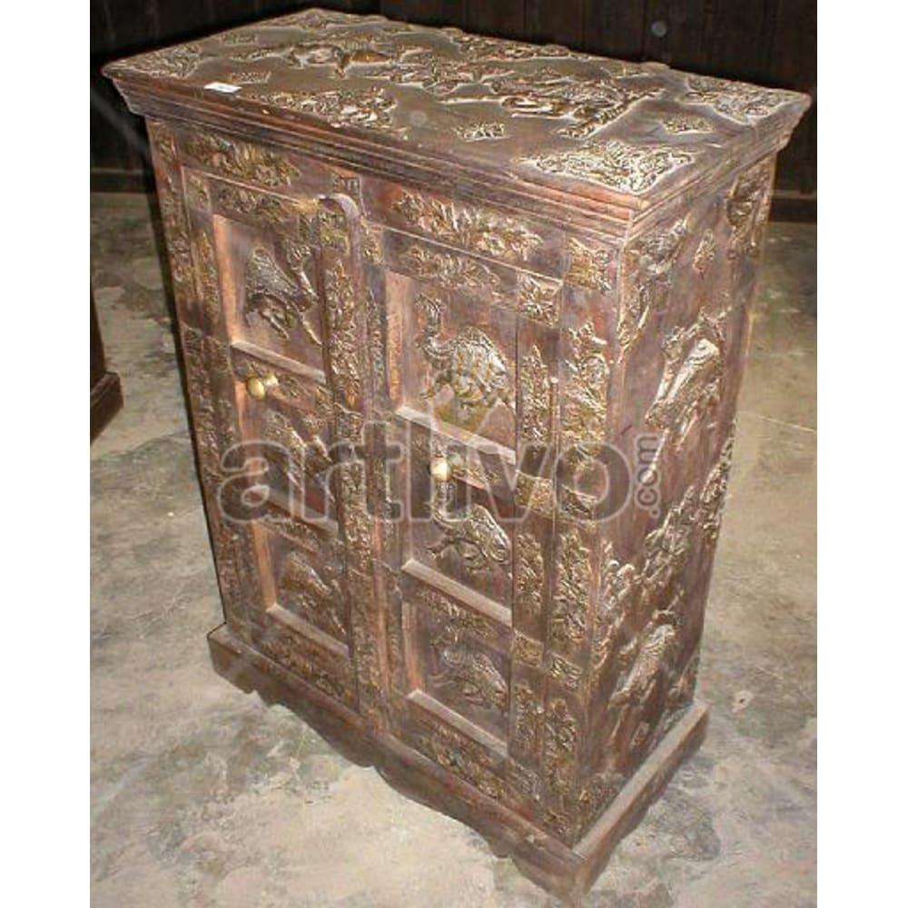 Antique Indian Sculpted Luscious Solid Wooden Teak Almirah
