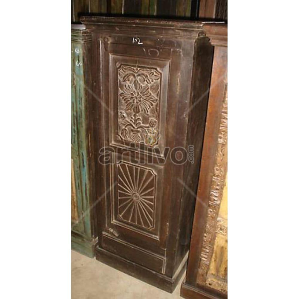 Antique Indian Sculpted Ostentatious Solid Wooden Teak Almirah