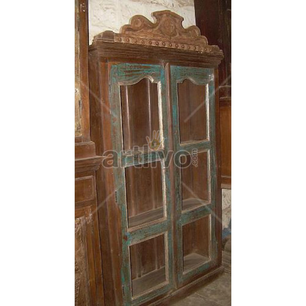 Old Indian Chiselled illustrious Solid Wooden Teak Almirah