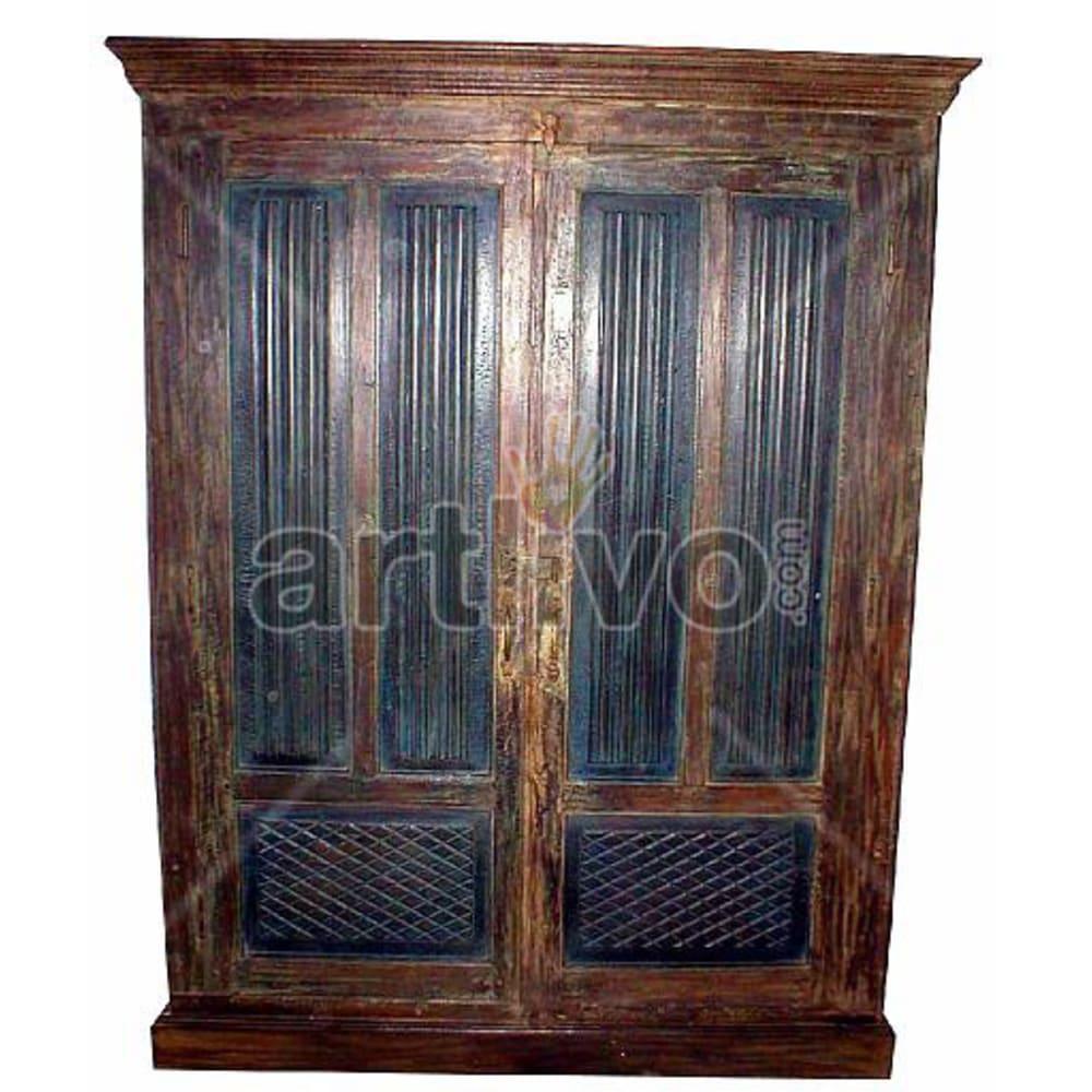 Old Indian Engraved Lavish Solid Wooden Teak Almirah